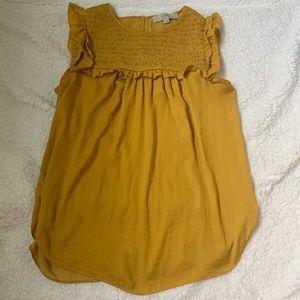EUC! LOFT mustard yellow sleeveless blouse